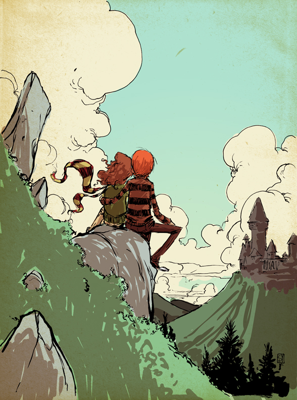skottie-young-fan-art-illustration-of-ron-and-hermione-from-the-harry-potter-books-and-movies
