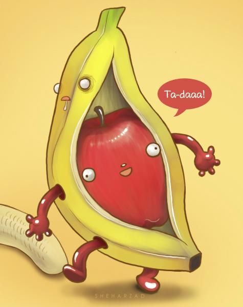 apple_banana_by_sheharzad_arshad-d6fp5it